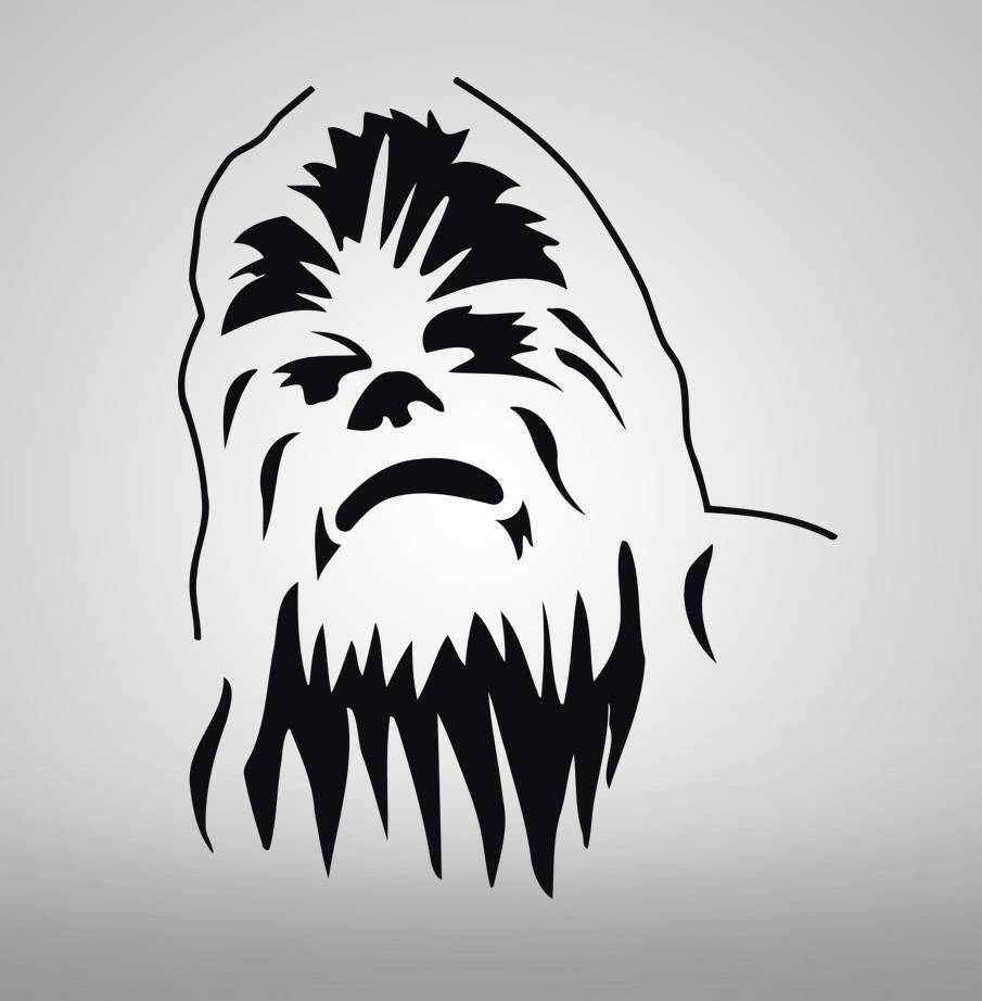 Chewbacca star wars decal wall sticker art home decor for Silhouette wall art