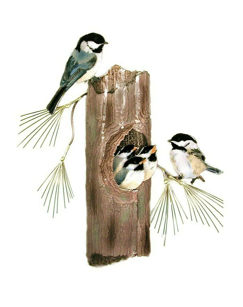 Wall art nesting chickadee family wall sculpture metal for Bird wall art