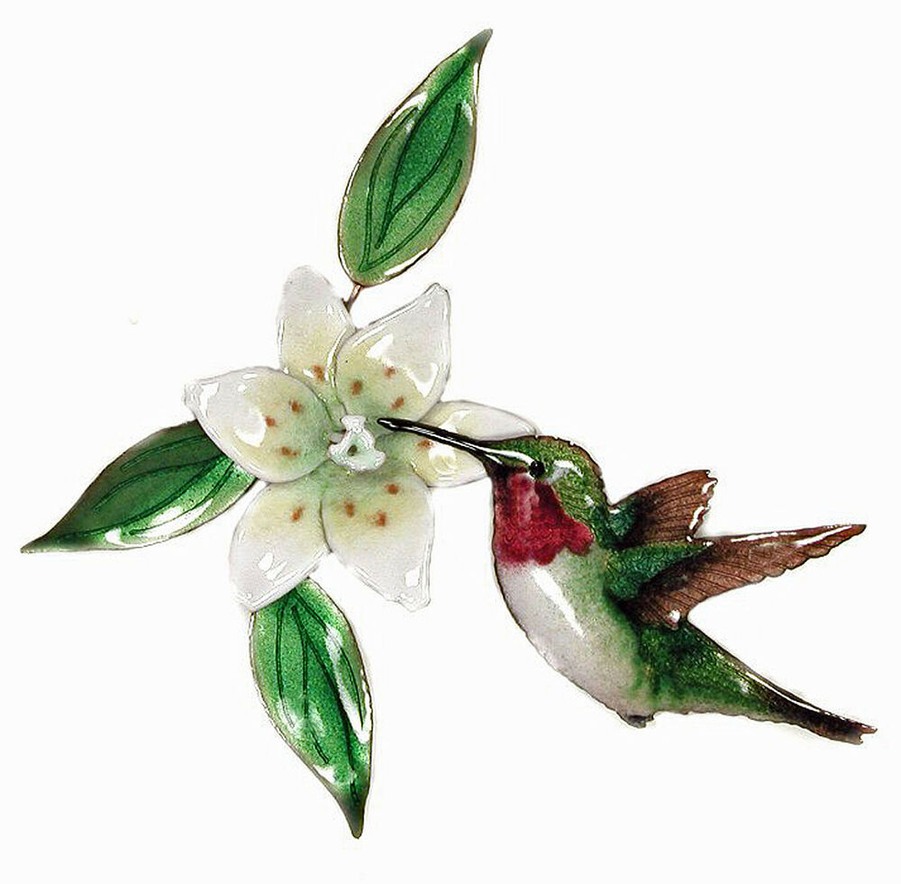 Wall decor hummingbird with white lily metal wall for Hummingbird decor