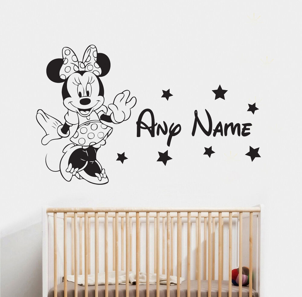 MINNIE MOUSE & NAME WALL STICKER 1 DISNEY CHILDRENS ...