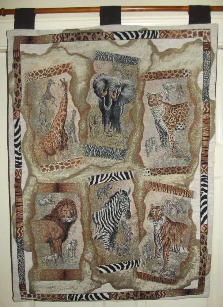 Amazing African Animals Wall Tapestry With Rod Amp Weighted