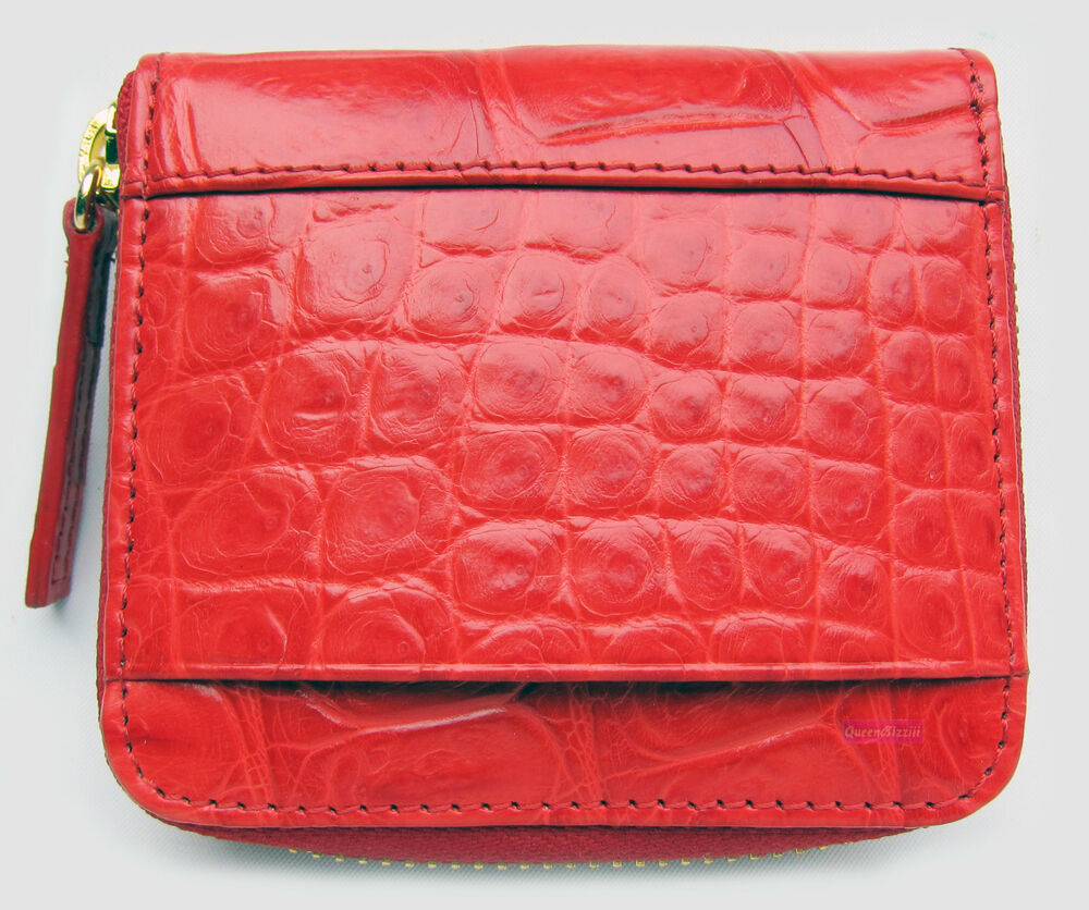 Red Genuine Crocodile Belly Skin Leather Exotic Zipped