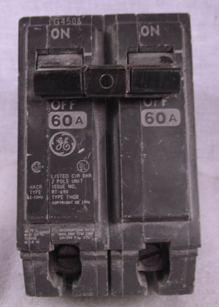 Ge 60 Amp 2 Pole Circuit Breaker Thqb 60 Used Ebay