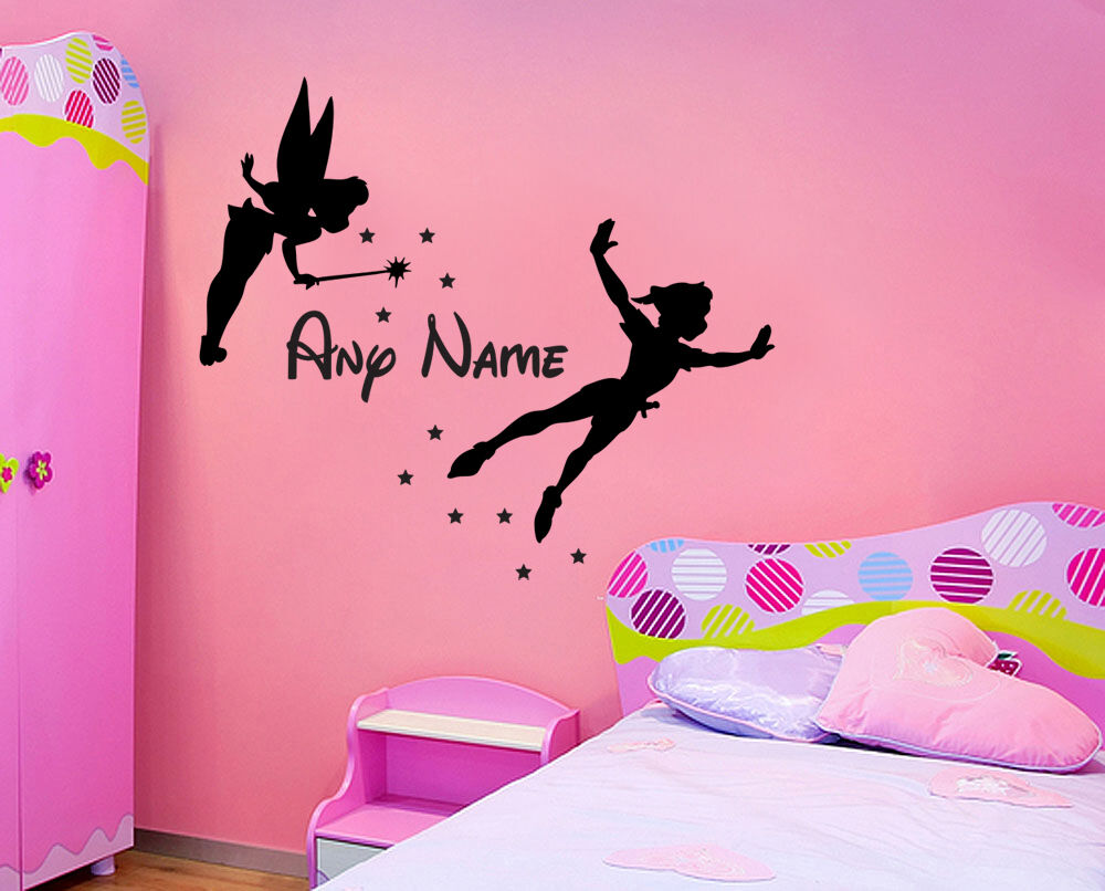 Tinkerbell Peter Pan Amp Name Wall Sticker Childrens Bedroom