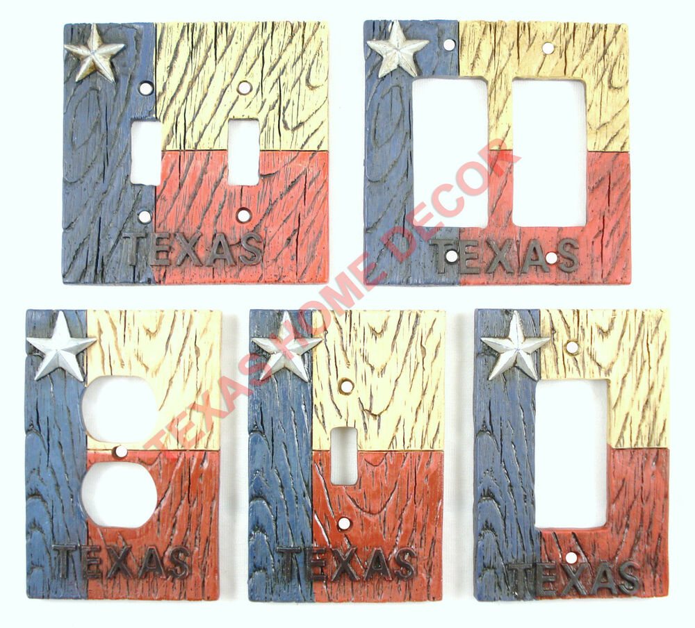 Western Rustic Switch Plate Covers Texas Flag Star