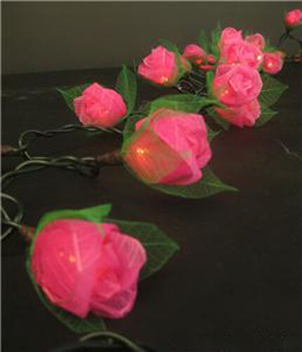 Pink Rose string LED Fairy Lights Noir Gothic Party Night Decorations ...