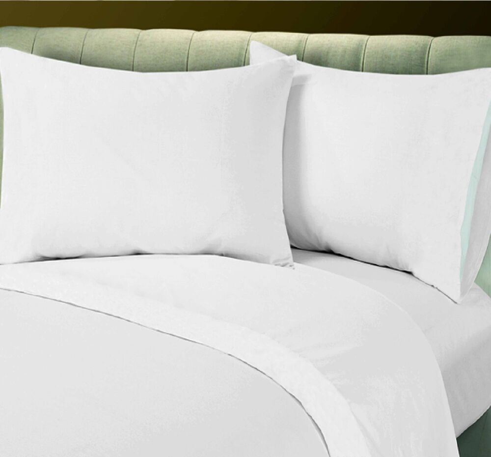 1 white queen size flat sheet t180 cotton blend percale free upgrade to t200 ebay. Black Bedroom Furniture Sets. Home Design Ideas