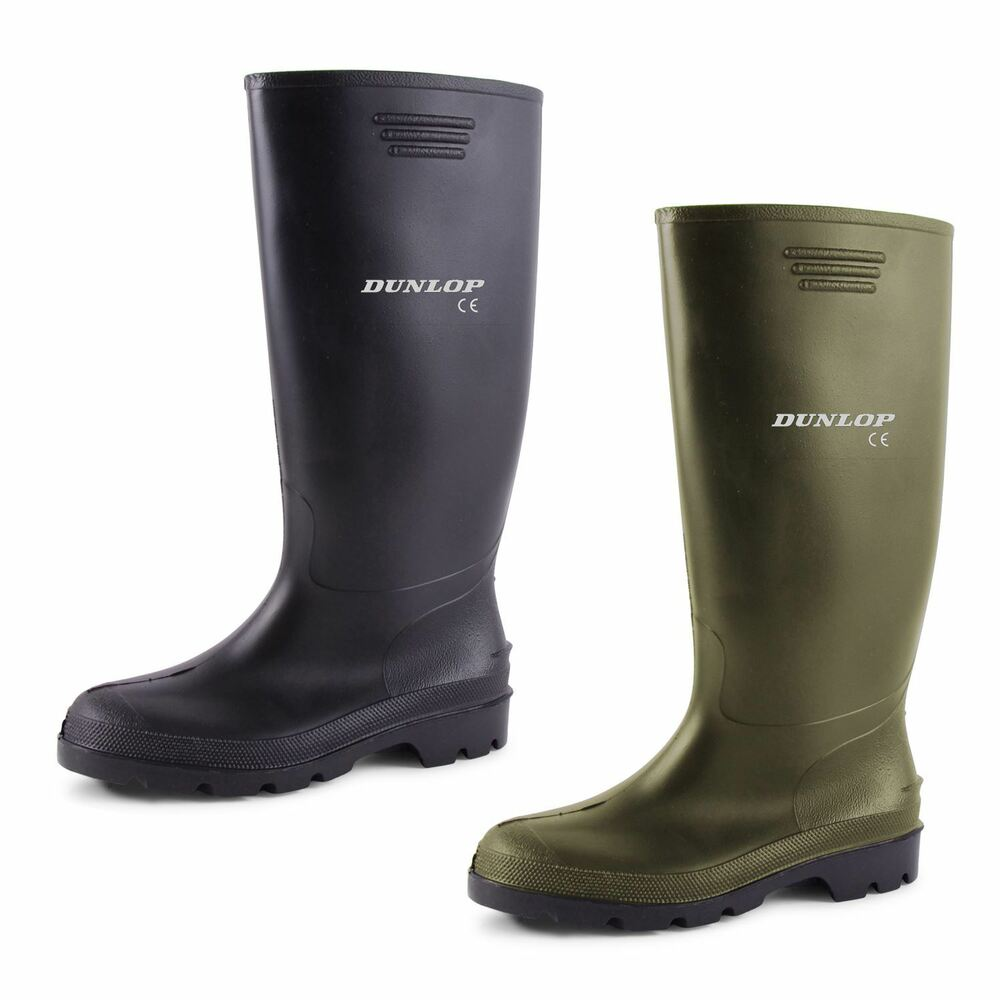 New mens ladies dunlop wellies snow rain waterproof wellington black