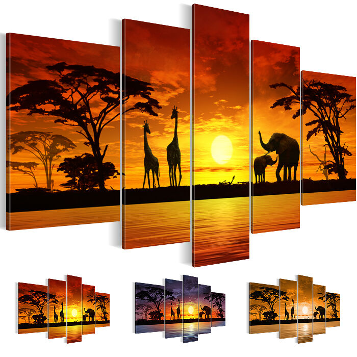 bild leinwand bilder 0002516 27 kunstdruck afrika wandbild rot braun lila 5tlg ebay. Black Bedroom Furniture Sets. Home Design Ideas