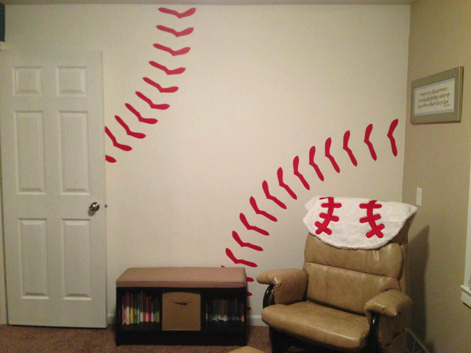 Baseball Stitches Wall Decal Vinyl Sticker Bedroom Boy