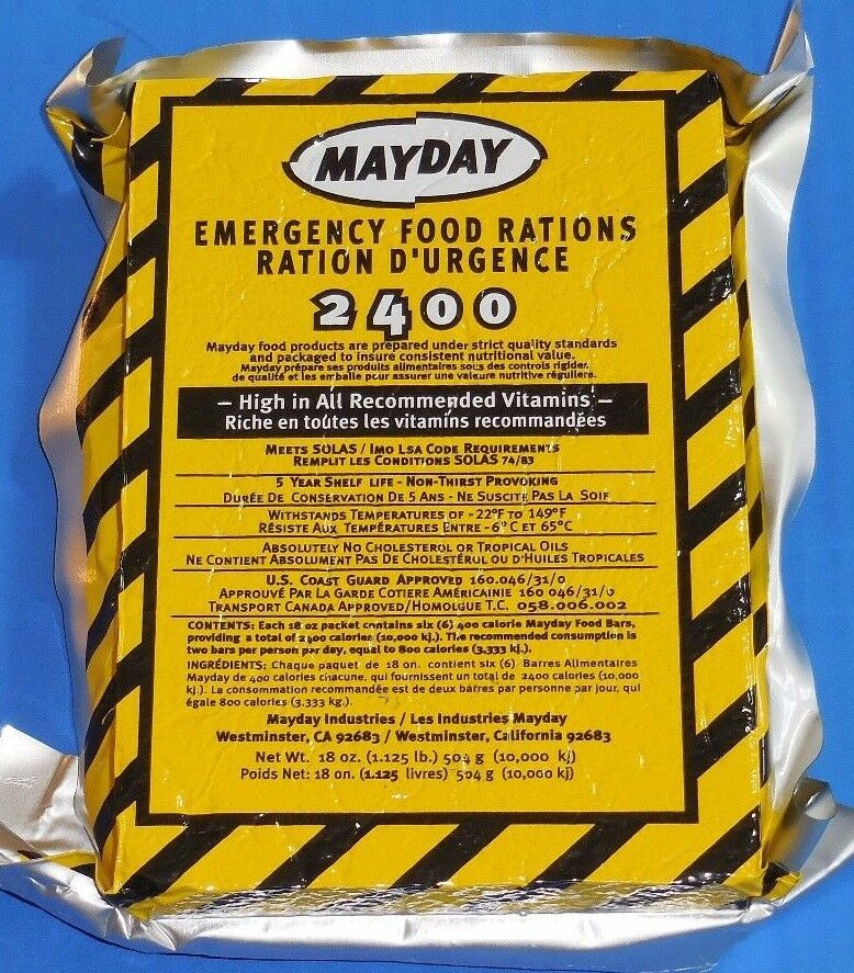 3 day food supply emergency survival mdfb24 food bar for Mayday food bar 3600 calories