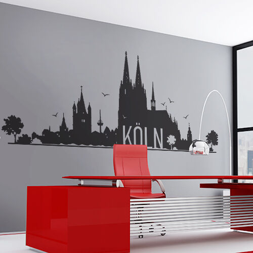 k ln wandtattoo wandaufkleber wandsticker skyline cologne koeln motiv w104 ebay. Black Bedroom Furniture Sets. Home Design Ideas