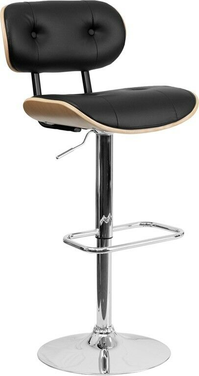 Beach Bentwood Adjustable Height Bar Stool With Button