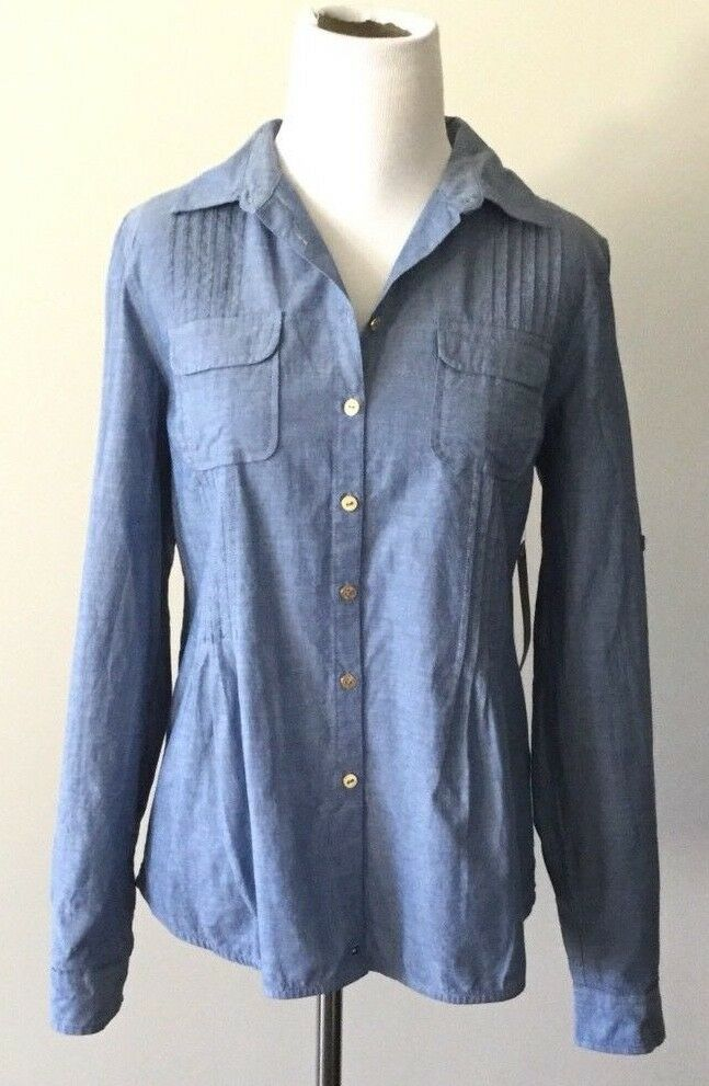 Tommy hilfiger womens shirt new top chambray blue 100 for Blue chambray shirt women s