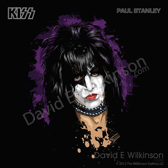 paul stanley of kiss lp album size art giclee 39 by david e wilkinson ebay. Black Bedroom Furniture Sets. Home Design Ideas
