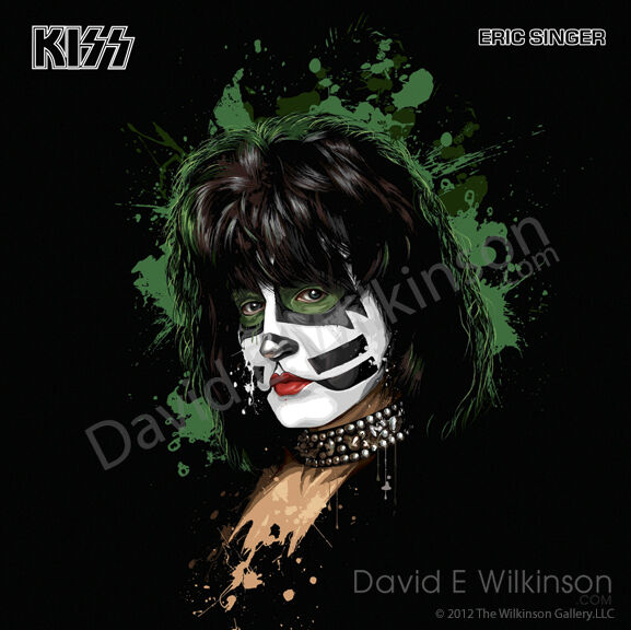 Now Kiss And Makeup: Eric Singer Of KISS LP Album Size Art Giclee' By David E