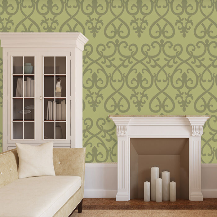 Wall Art Decor Stencils : Classic decorative wall stencil pattern for room