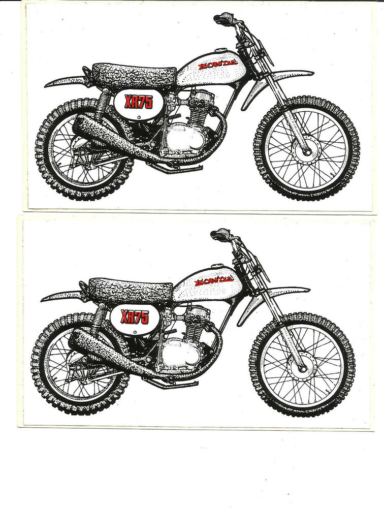 lot of 2 vintage honda xr75 motorcycle vinyl sticker decal moto mx dirtbike ebay. Black Bedroom Furniture Sets. Home Design Ideas