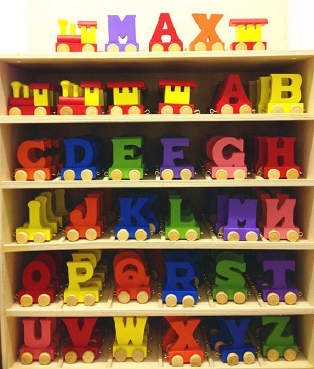 Brand new wooden alphabet color train letters personalised for Kids name letters
