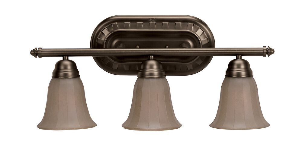 Hunter 3 Light Bronze Patina With Amber Round Sconce Bathroom Vanity Fixture Ebay