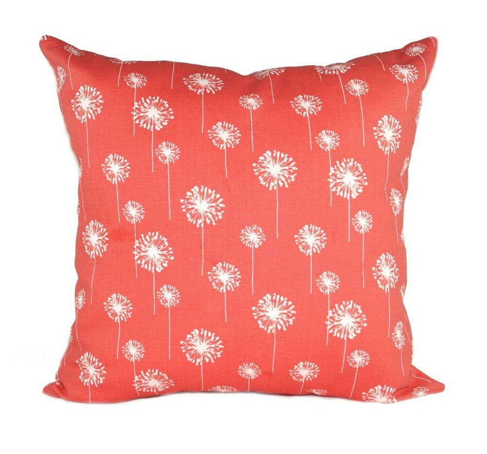 How To Make A Small Decorative Pillow : Premier Prints Small Dandelion Coral Floral Decorative Throw Pillow eBay