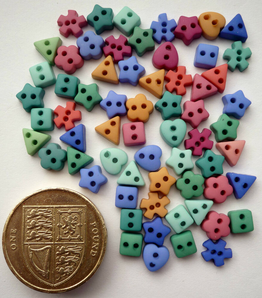 MINI SHAPES BOTANICAL Craft Buttons Small Baby Sewing Doll ...