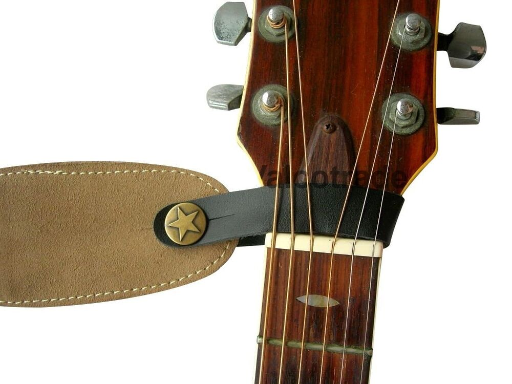 acoustic guitar strap button leather easy fit for folk classical accoustic gift ebay. Black Bedroom Furniture Sets. Home Design Ideas