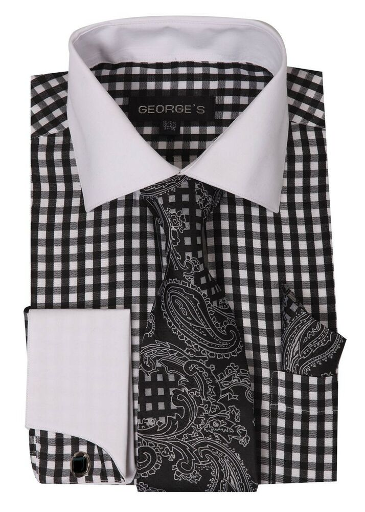 French cuff dress shirt check design with tie hanky for What is a french cuff shirt