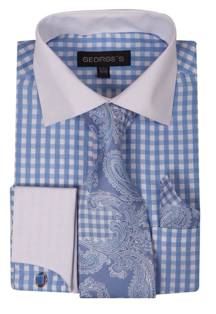 New george french cuff dress shirt with cuff links paisley for Gingham french cuff shirt