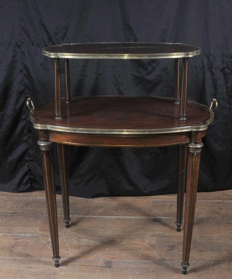French Empire Antique Etagere Table Two Tiered Side Tables