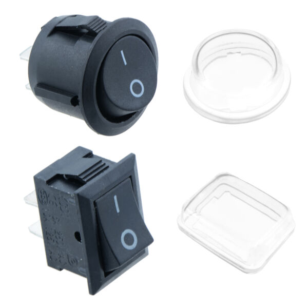 On/Off Round Rectangle Rocker Switch + Waterproof Cover Car Dash Boat SPST 12V