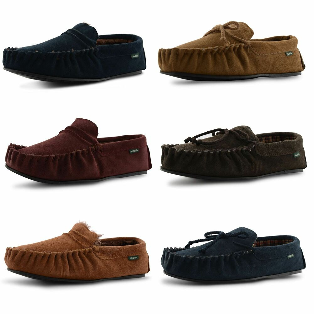 New Mens Dunlop Genuine Leather Suede Moccasin Slippers