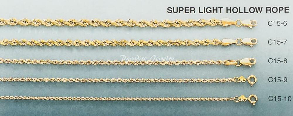 Men S Women S Necklace Solid 14k Gold Hollow Rope Chain 2
