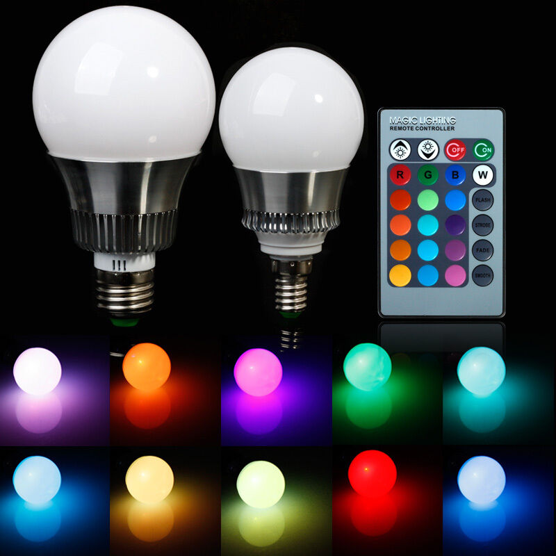 5w 10w e27 e14rgb led light color changing lamp bulb 85 265v with remote control ebay. Black Bedroom Furniture Sets. Home Design Ideas