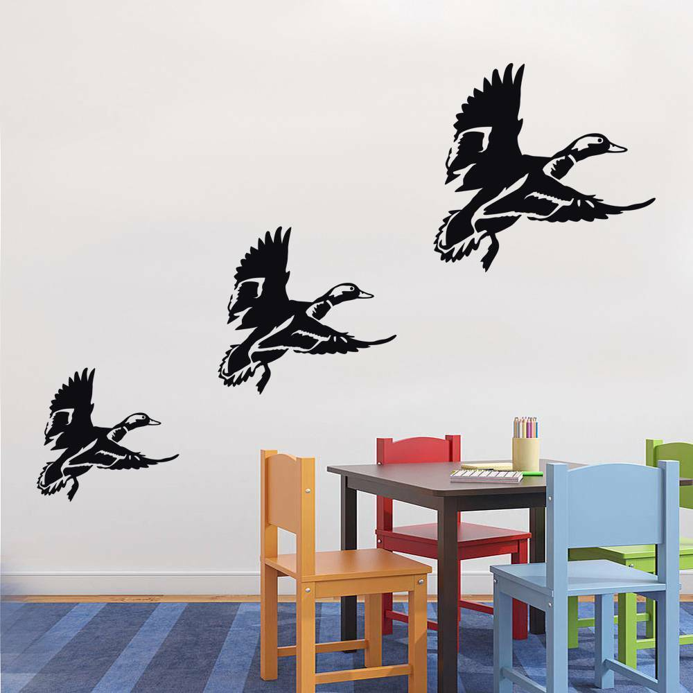 FLYING DUCKS X3 Decal WALL STICKER Art Decor Vinyl