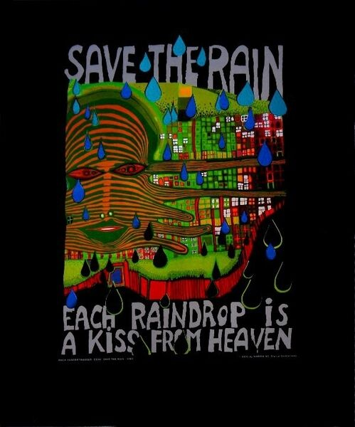 hundertwasser save the rain poster kunstdruck bild 50x40. Black Bedroom Furniture Sets. Home Design Ideas