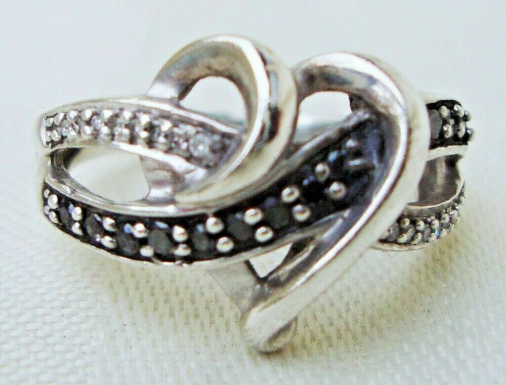 Kay Jewelers Black Amp White Diamonds Ss Open Heart Ring Sz