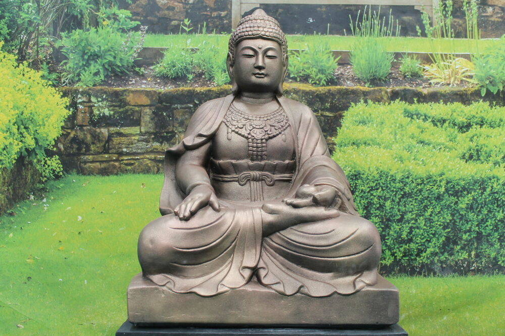 x large bronzed lotus garden buddha statue ornament ebay. Black Bedroom Furniture Sets. Home Design Ideas