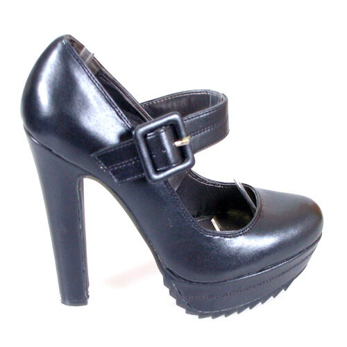 shoes wide black leather look