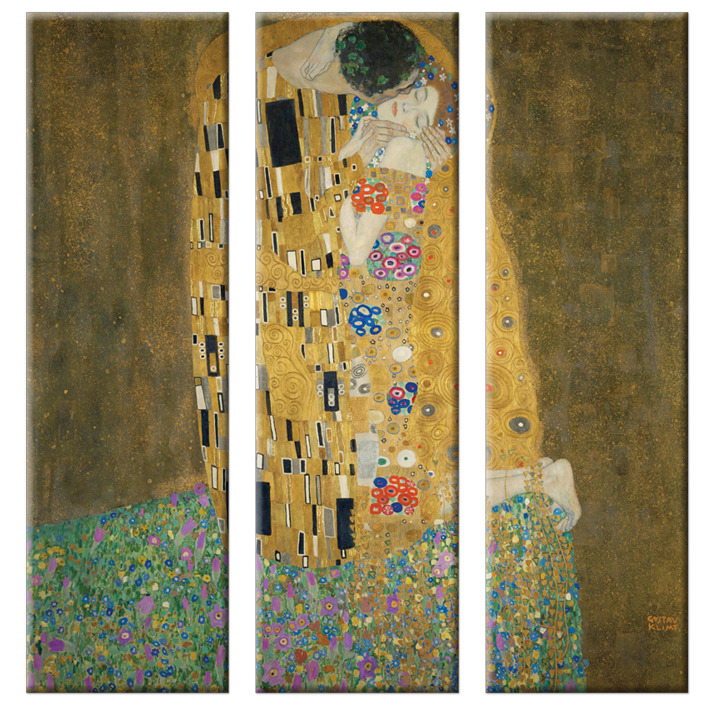 zeit4bild gustav klimt der kuss 3 teilen leinwand bilder giclee 90cmx90cm ebay. Black Bedroom Furniture Sets. Home Design Ideas