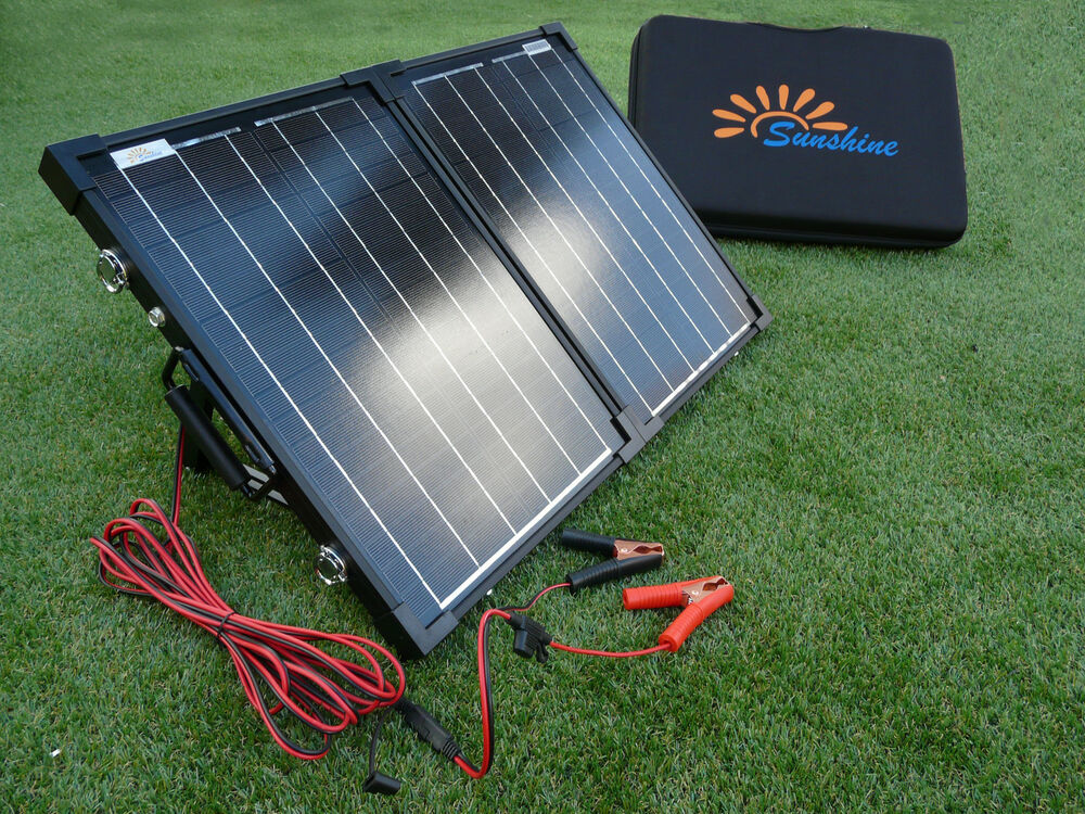 Compact Portable 40w Solar Panel Battery Charging Kit Ebay