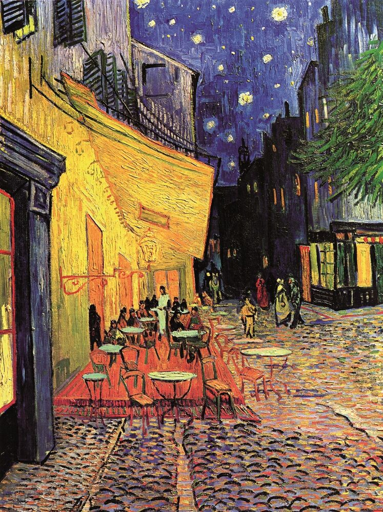zeit4bild vincent van gogh caf terasse am abend nachtcaf leinwand reproduktion ebay. Black Bedroom Furniture Sets. Home Design Ideas