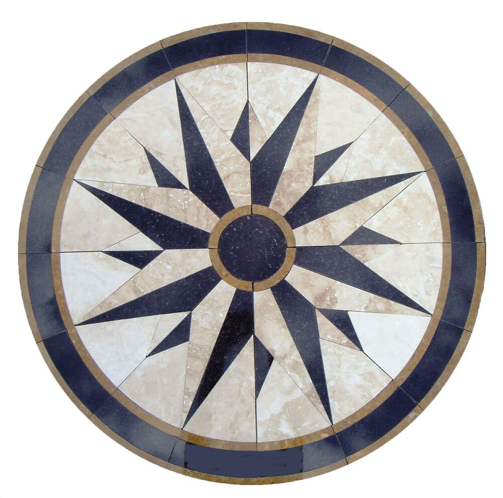 Floor Medallion Marble Mosaic Nautical Compass Travertine
