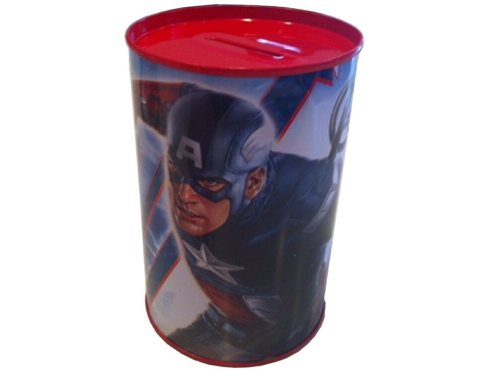 New marvel captain america avengers metal coin money cash for How to open a tin piggy bank