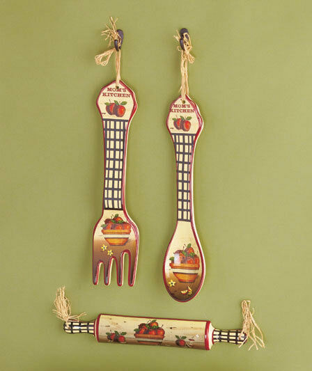 Kitchen Wall Decor Fork And Spoon: 3-Pc. Kitchen Wall Decor Rooster Apple Country Utensil