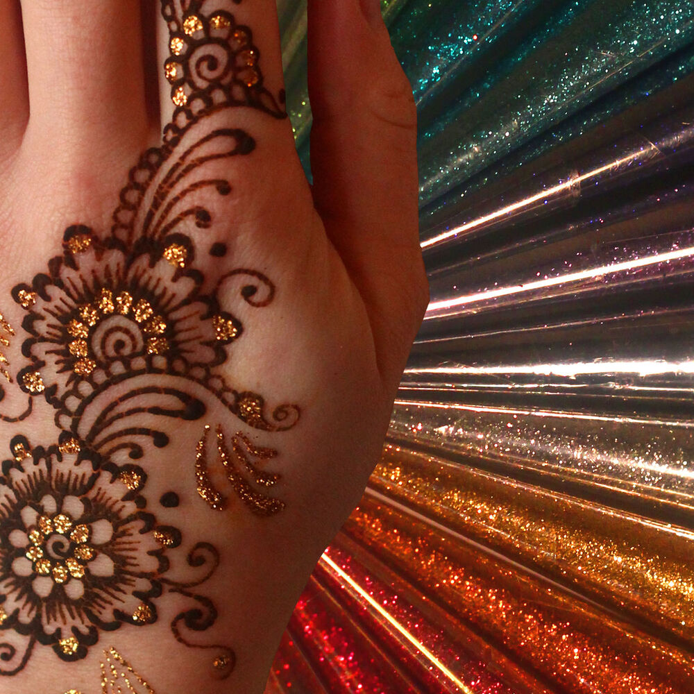 Henna And Tattoo Art: 12 Colours/ Glitter Gel Cone/ Henna Tattoo Body Art/ Henna