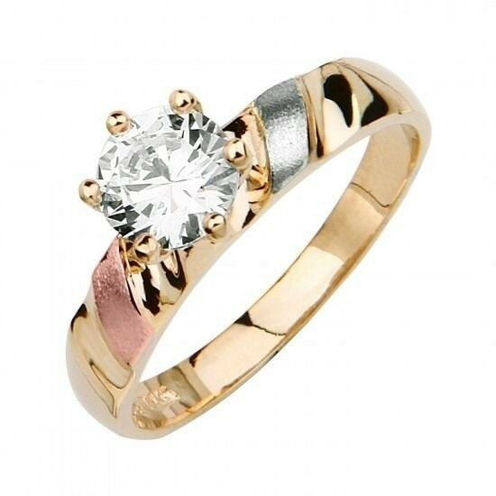 14k tri color solid gold simulated solitaire