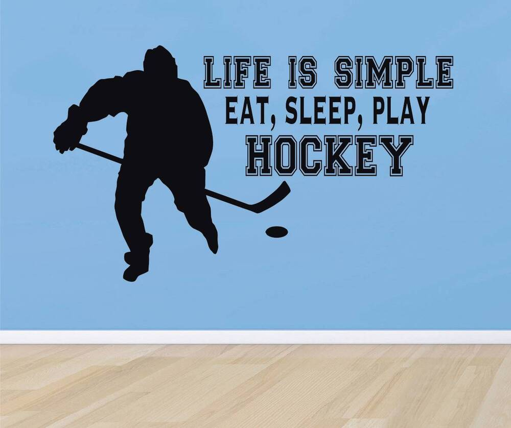 Eat Sleep Play Hockey Quote Decal Wall Sticker Home Decor