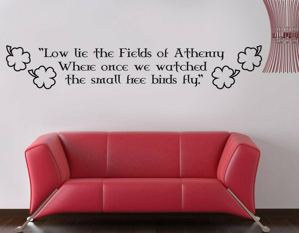 fields of athenry quote decal wall sticker decor art irish clover celtic sq56