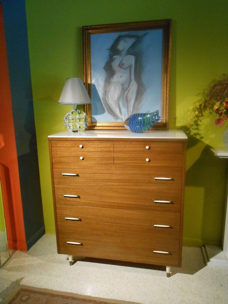 mid century modern eames era rway chest of drawers white carrera glass top ebay. Black Bedroom Furniture Sets. Home Design Ideas